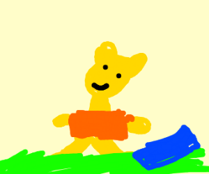 Yellow bear w/ blue/orange shirt in grass