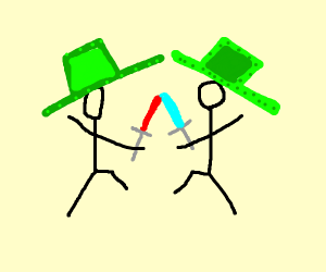 2 stick men with large green hats fighting