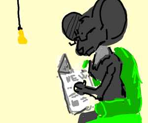 A mouse reading a newspaper