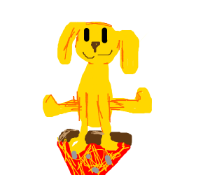 a yellow dog sitting on pizza