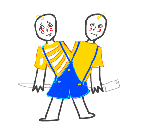 Two headed baby has a knife