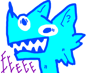 blue wolf screaming