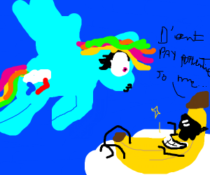 MlP charachter with a banana with sunglasses