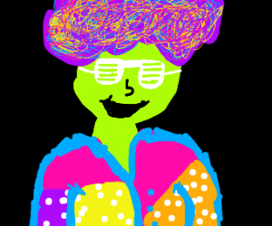 Green person with weird colourful clothes