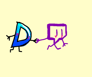 Drawception D and twitch logo on a date