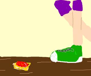 the spaghetti fell on the floor!