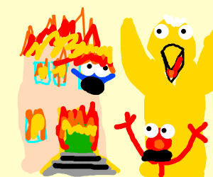 sesame street building burns