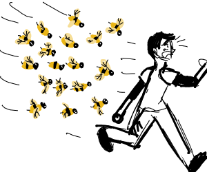 Swarm of bees chase a man