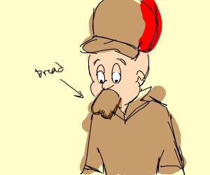 elmer fudd eating a piece of bread