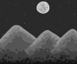 Moon is shining brightly on mountains