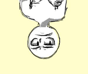unimpressed man is upside down