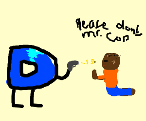 Drawception D committing police brutality