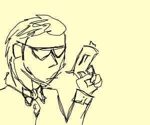 man with sunglasses and tuxedo has a gun