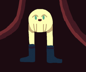 Onion in a play wearing boots.