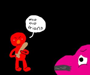 Elmo kidnaps Barney The Dinosaur