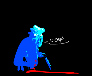 Old man in DrawceptionD colors steps in blood