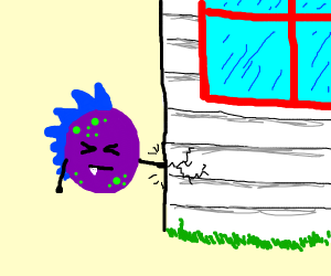 Purple spike head punching house