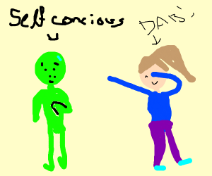 Self conscious aliens gets dabbed on by human