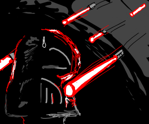 THE LIGHTSABERS REBELLING ON DARTH VADER!