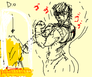 Jonathan posing menacingly at Dio's head