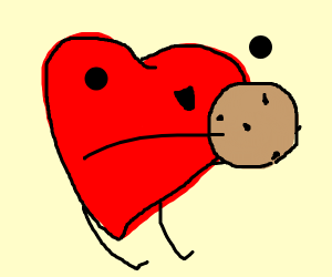Cute heart holding a cookie