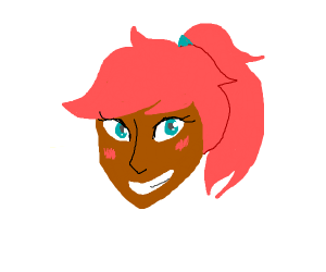 Smiling girl with pink hair.