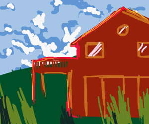 Ranch house in front of hills