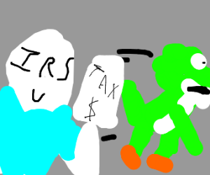 Yoshi getting chased by a casual wearing IRS