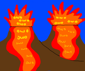 Tiny volcanoes spit two owo faces