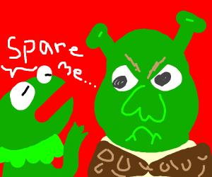 Shrek's angry at kermit