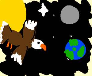 Eagle flying in space