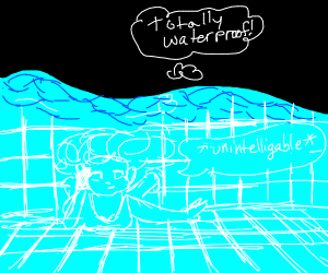 Bragging about a waterproof phone in the pool