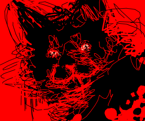 scary cat with blood drooling from mouth