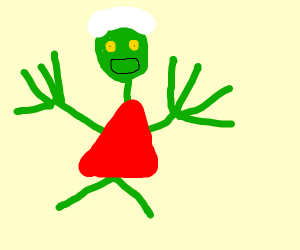 salad fingers stickman w/hair and red dress