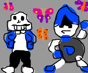 sans and lancer watching butterflies