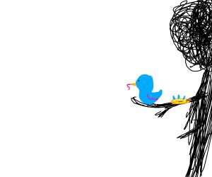 cute blue bird on stick