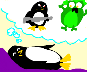 Penguin dreams of fighting aliens