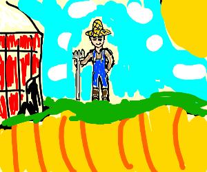 a farmer on his field on a sunny day