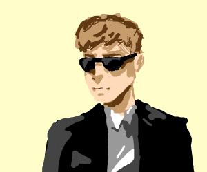 cool man impatient in suit