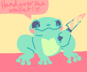 Happy little frog about to stab you for money