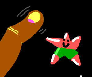 Finger wants to touch Patrick Star