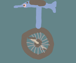 a dolphin-themed unicycle