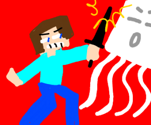 Minecraft steve fights a ghast