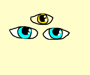 Close up of two blue eyes + yellow third eye