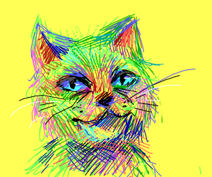 Realistic, colorful cat