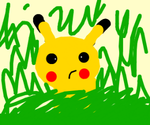Pikachu sitting in a field