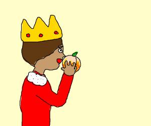 King eating a Peach