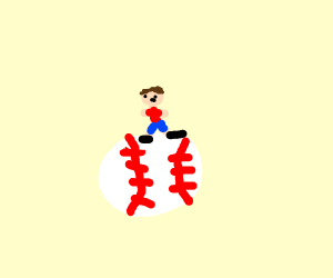 small guy standing on flying baseball