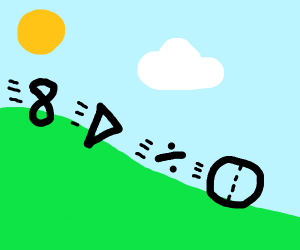 Math figures rolling down the hill