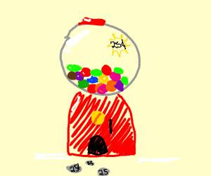 Gumballs in a gumball machine
